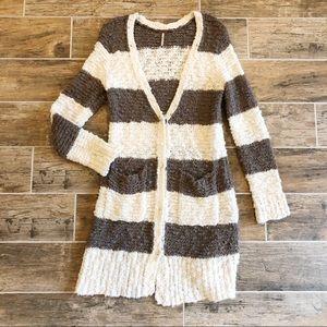 Free People | Brown & White Striped Cardigan
